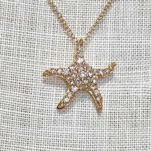 Jewelry - Sterling Silver Plated Gold Star Fish Necklace
